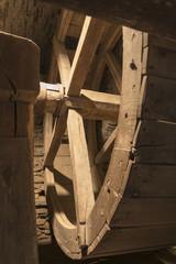 inside old wheel of a mill