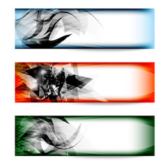 set colored abstract vector banner
