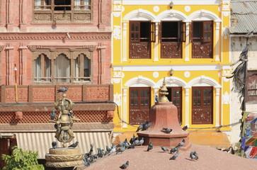 Buildings around Boudahanath-Bodhnath stupa-Kathmandu. 0323