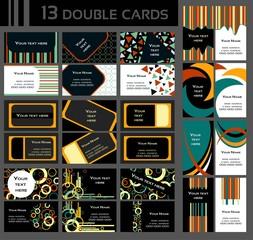 zestaw 13 podwójnych kolorowych wizytówek