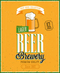 Wall Mural - Vintage Beer Brewery Poster. Vector illustration.