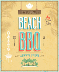 Wall Mural - Vintage Beach BBQ poster. Vector background.