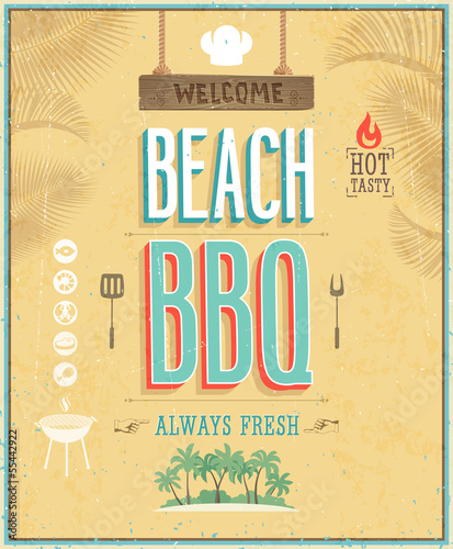 Wall mural Vintage Beach BBQ poster. Vector background.