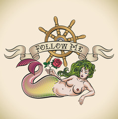Green hair mermaid - Follow me