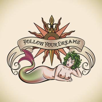Green hair mermaid - Follow Your Dreams