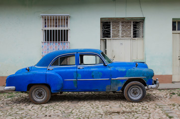 Blue old car