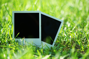 Blank photos in grass