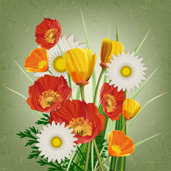 A beautiful bouquet of poppies and daisies in vintage style