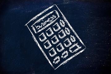 business success calculator on blackboard