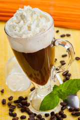 Dessert coffee with whipped cream