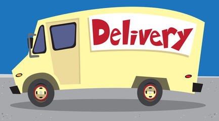 Yellow delivery van parked on road