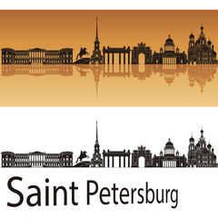 Saint Petersburg skyline in orange background