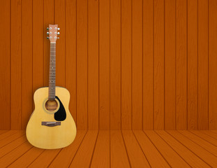 Guitar in blank room background