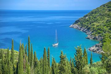 Greece Ithaka island, seascape view above ithaki main capitol