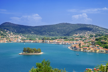 Greece ithaki island, panoramic view of the sea by the main harb