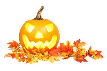 Halloween Jack o Lantern on red autumn leaves over white