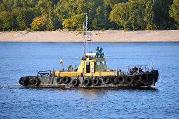 Tugboat on a river Dnieper, Kiev, Ukraine