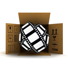 movie tape in package delivery