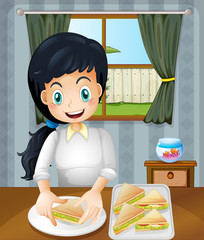 A happy mother preparing sandwiches