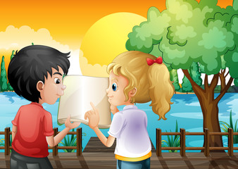 A girl and a boy discussing at the wooden bridge