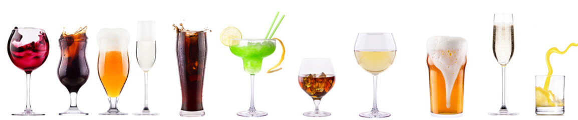 Printed roller blinds Alcohol Set of different alcoholic drinks and cocktails