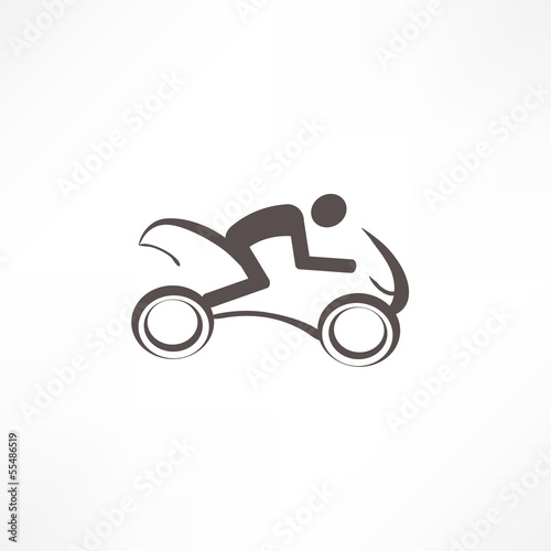 Fototapete motorcyclist icon