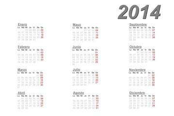 Spanish calendar for 2014