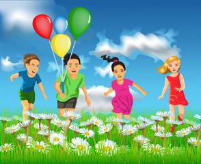 happy children running in the field