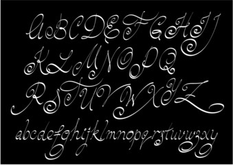 Vector free hand calligraphic alphabet, uppercase and