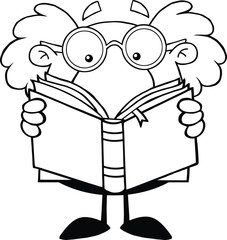 Black And White Funny Scientist Or Professor Reading A Book