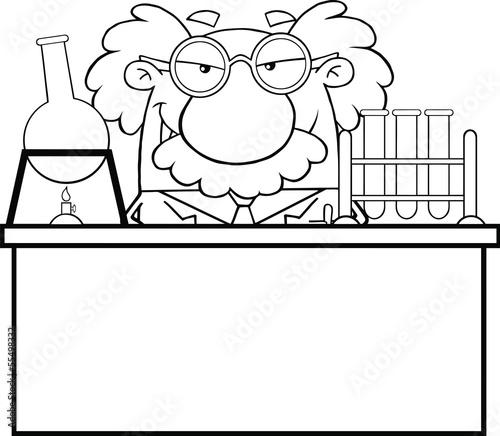 mad scientist cartoon black and white