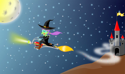 Witch fly with motor bloomstick  from her castle