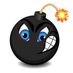 Black bomb with a funny face about to explode