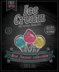Wall Mural - Vintage Ice Cream Poster - Chalkboard. Vector illustration.