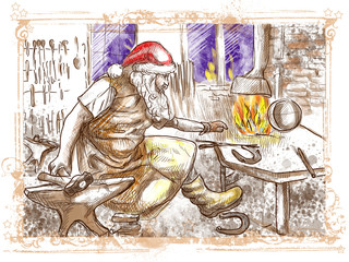 Santa Claus in the smithy manufactures horseshoes
