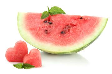 Fresh ripe watermelon isolated on white