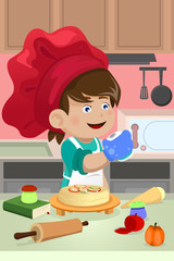 Kid cooking in the kitchen