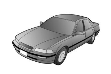 Auto na białym tle grafika, ilustracja. Odcienie szarości.
