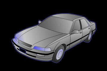 Honda Legend na czarnym tle grafika. Blask. Szarości.