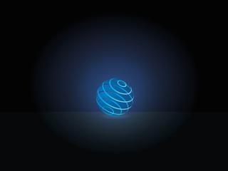 Kugel leuchtend blau