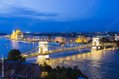 The Chain Bridge in Budapest,Hungary