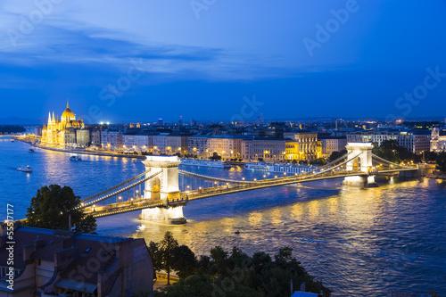 The Chain Bridge in Budapest,Hungary