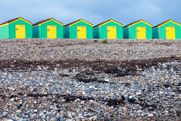 Line of Green and Yellow Beach Huts