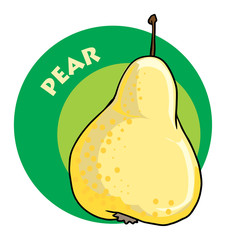 colorful drawn fruit label - pear, vector illustration