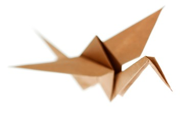 Origami crane bird made from brown recycle paper. Isolated on wh