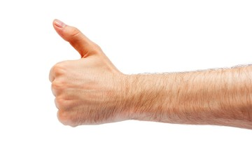 Casual man going thumb up, isolated on white