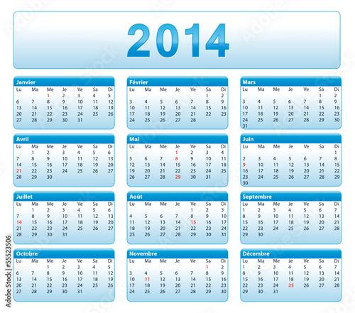 quot 2014 calendrier fran 231 ais bleu de bureau avec jours f 233 ri 233 s quot fichier vectoriel libre de droits