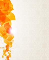 Beige background with orange petals pattern