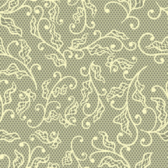 Old lace background, floral ornament. Vector texture.