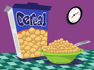 Bowl of cereal on table with box and clock on wall
